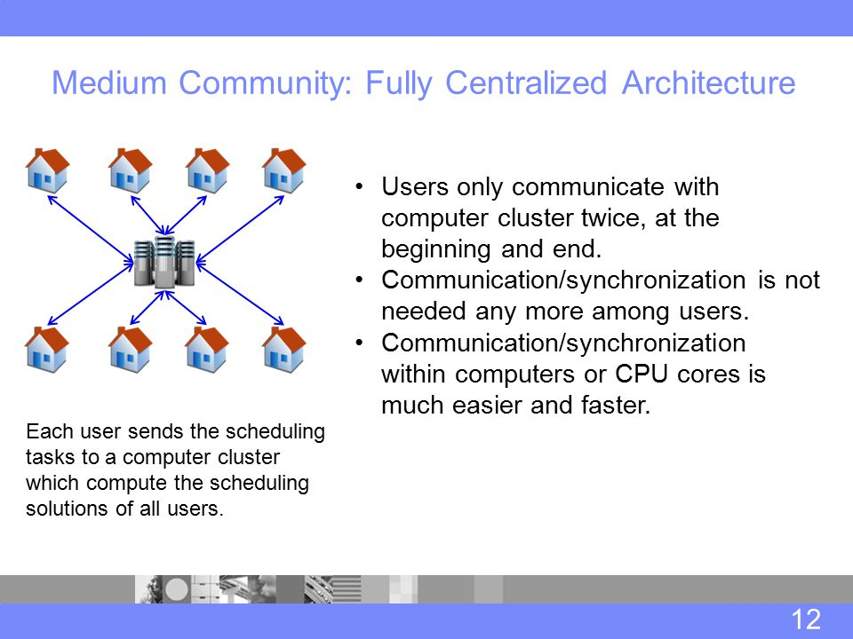 Medium Community: Fully Centralized Architecture 12 Users only communicate with computer cluster twice, at the beginning and end.