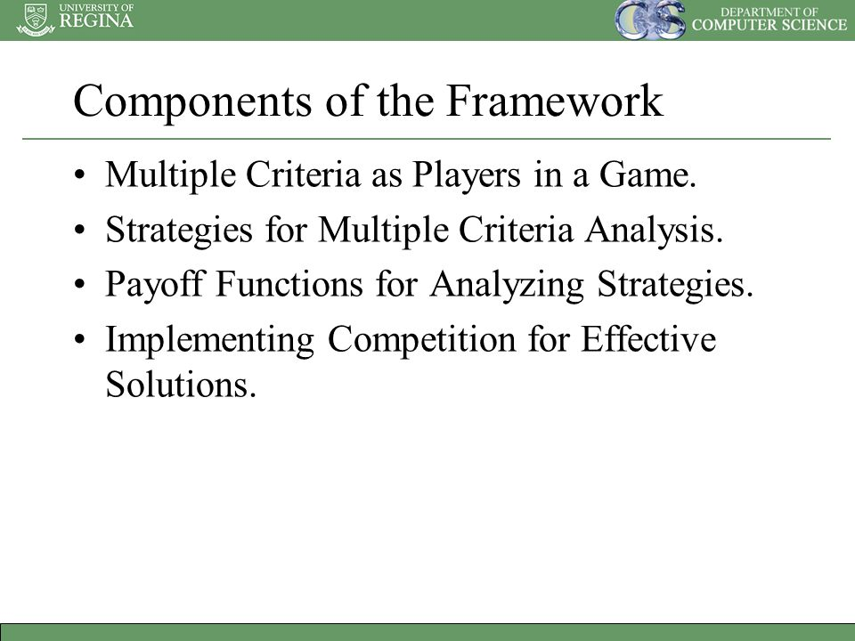 Components of the Framework Multiple Criteria as Players in a Game.
