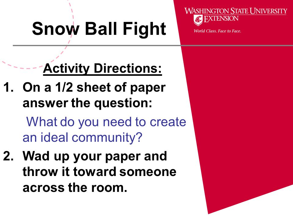 Snow Ball Fight Activity Directions: 1.On a 1/2 sheet of paper answer the question: What do you need to create an ideal community? 2.Wad up your paper