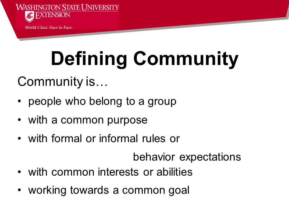 Community is… people who belong to a group with a common purpose with formal or informal rules or behavior expectations with common interests or abilities working towards a common goal Defining Community