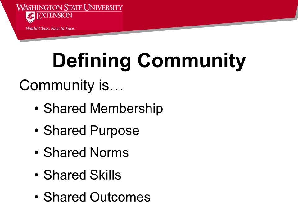 Community is… Shared Membership Shared Purpose Shared Norms Shared Skills Shared Outcomes Defining Community