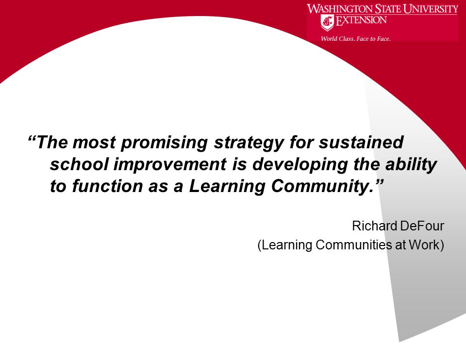 The most promising strategy for sustained school improvement is developing the ability to function as a Learning Community. Richard DeFour (Learning Communities at Work)