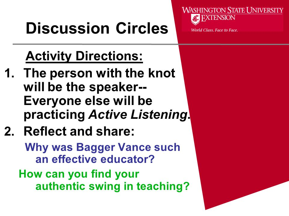 Discussion Circles Activity Directions: 1.