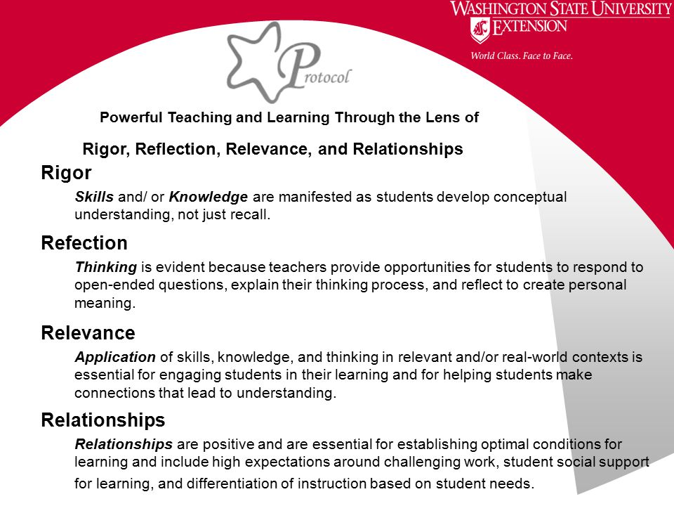 Relationships Relationships are positive and are essential for establishing optimal conditions for learning and include high expectations around challenging work, student social support for learning, and differentiation of instruction based on student needs.