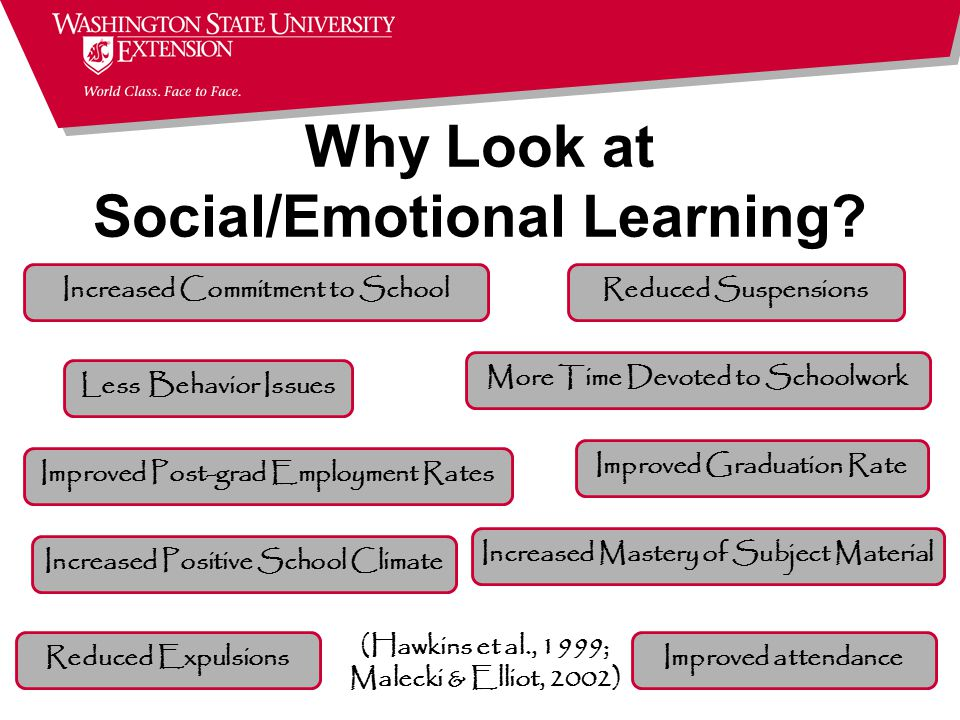 (Hawkins et al., 1999; Malecki & Elliot, 2002) Increased Commitment to School Less Behavior Issues Improved Post-grad Employment Rates Improved attendanceReduced Expulsions Reduced Suspensions More Time Devoted to Schoolwork Improved Graduation Rate Increased Mastery of Subject Material Increased Positive School Climate Why Look at Social/Emotional Learning