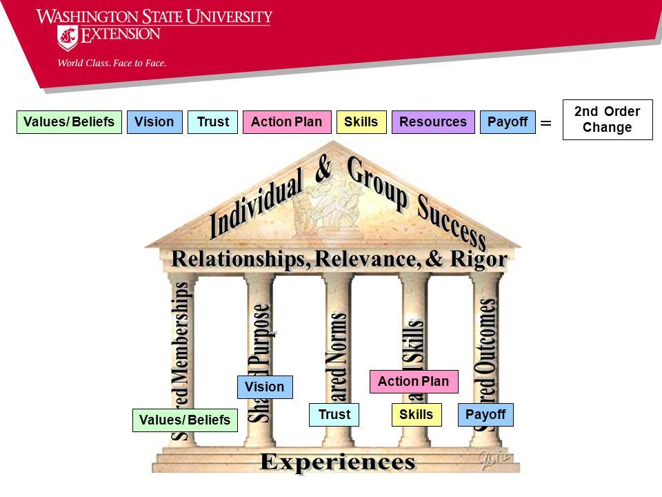 = TrustVisionResourcesSkillsPayoffAction Plan Values/ Beliefs 2nd Order Change = Trust Vision SkillsPayoff Values/ Beliefs Action Plan