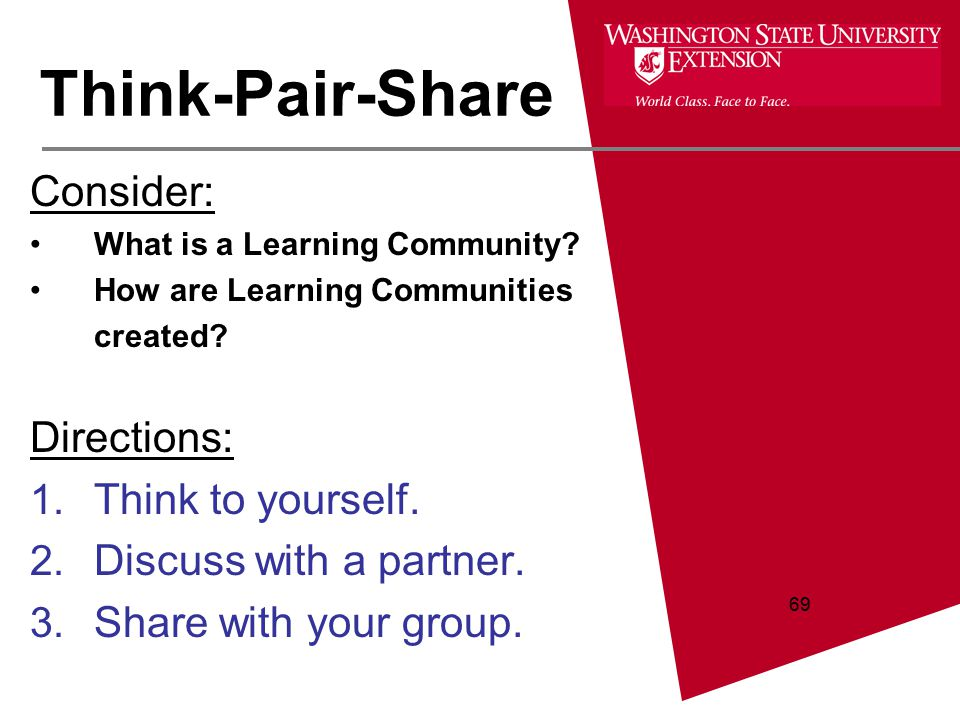 69 Consider: What is a Learning Community? How are Learning Communities created? Directions: 1. Think to yourself. 2. Discuss with a partner. 3. Share