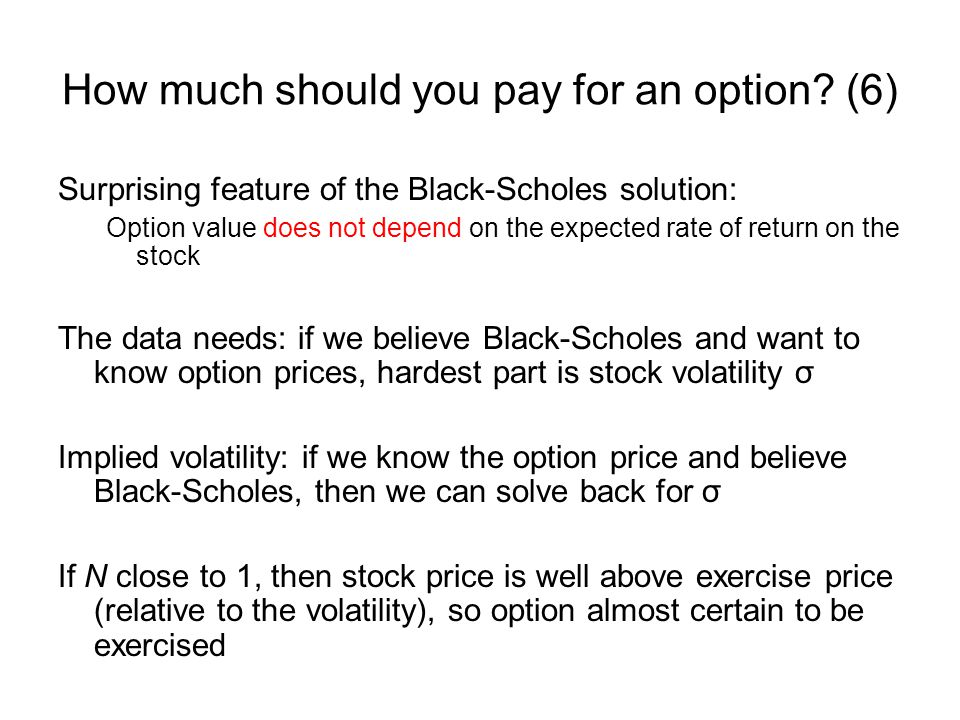 How much should you pay for an option? (6) Surprising feature of the Black-Scholes solution: Option value does not depend on the expected rate of retu