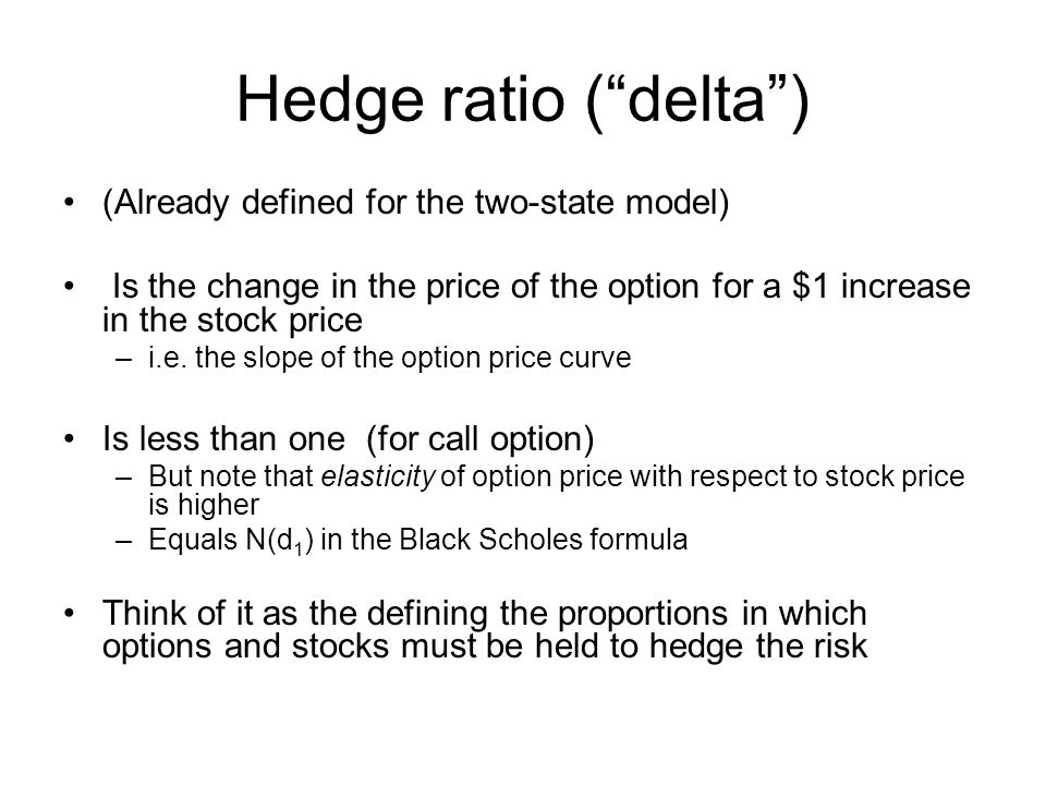 """Hedge ratio (""""delta"""") (Already defined for the two-state model) Is the change in the price of the option for a $1 increase in the stock price –i.e. th"""