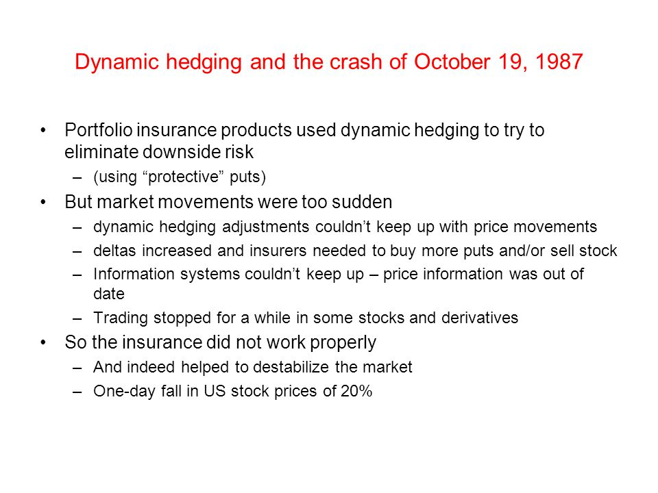 """Dynamic hedging and the crash of October 19, 1987 Portfolio insurance products used dynamic hedging to try to eliminate downside risk –(using """"protect"""