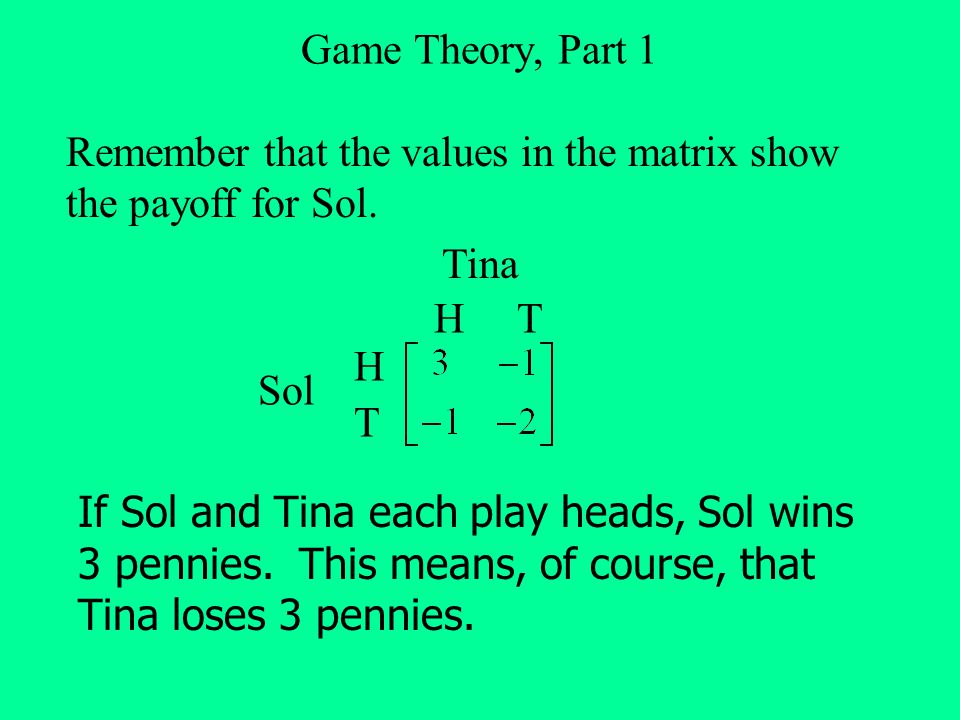Game Theory, Part 1 Remember that the values in the matrix show the payoff for Sol. H T H T Tina Sol If Sol and Tina each play heads, Sol wins 3 penni