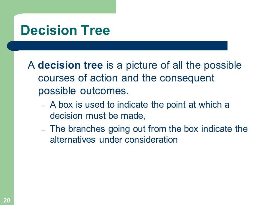 20 Decision Tree A decision tree is a picture of all the possible courses of action and the consequent possible outcomes.