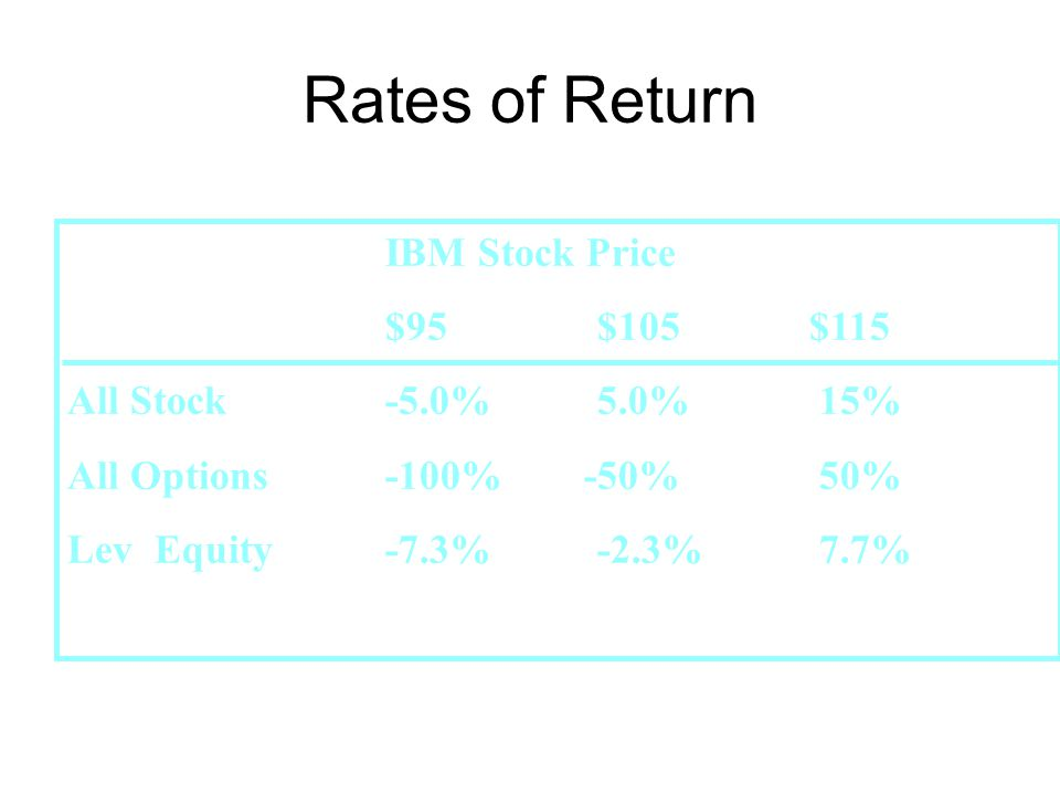 IBM Stock Price $95$105$115 All Stock-5.0%5.0% 15% All Options-100% -50% 50% Lev Equity -7.3%-2.3% 7.7% Rates of Return