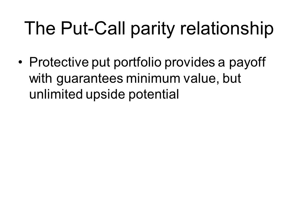 The Put-Call parity relationship Protective put portfolio provides a payoff with guarantees minimum value, but unlimited upside potential