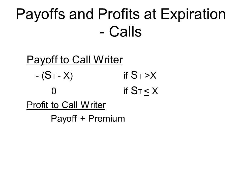 Payoff to Call Writer - ( S T - X) if S T >X 0if S T < X Profit to Call Writer Payoff + Premium Payoffs and Profits at Expiration - Calls