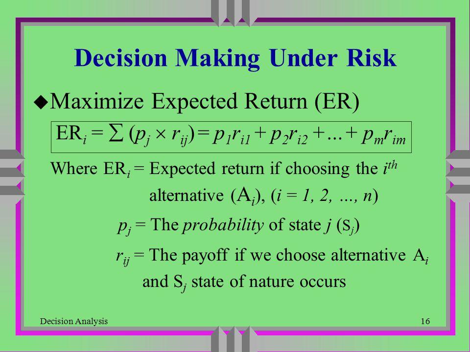 Decision Analysis16 Decision Making Under Risk u Maximize Expected Return (ER) ER i =  (p j  r ij ) = p 1 r i1 + p 2 r i2 +…+ p m r im Where ER i =
