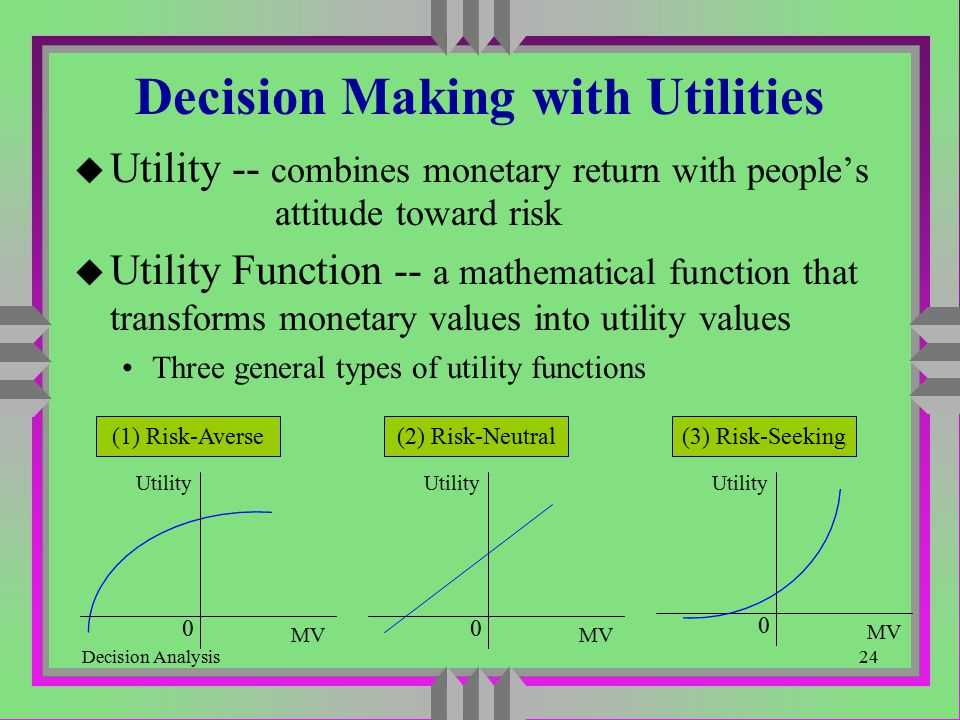 Decision Analysis24 Decision Making with Utilities u Utility -- combines monetary return with people's attitude toward risk u Utility Function -- a ma
