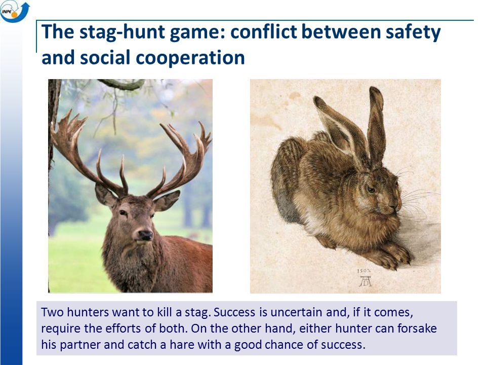 The stag-hunt game: conflict between safety and social cooperation Two hunters want to kill a stag.