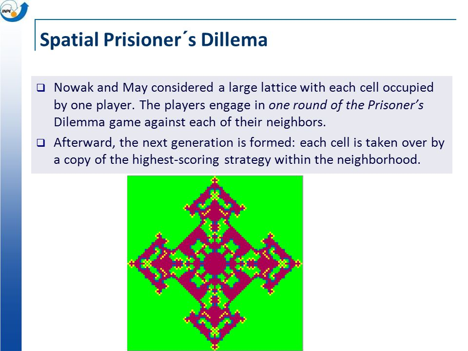 Spatial Prisioner´s Dillema  Nowak and May considered a large lattice with each cell occupied by one player.