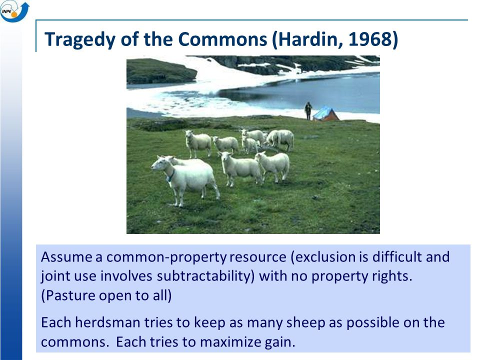 Tragedy of the Commons (Hardin, 1968) Assume a common-property resource (exclusion is difficult and joint use involves subtractability) with no property rights.