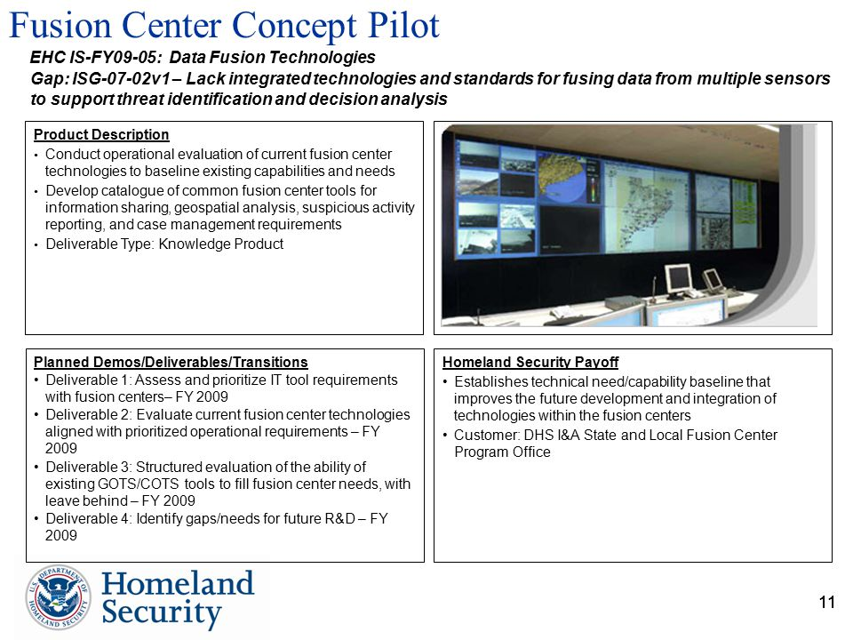11 Fusion Center Concept Pilot 11 Planned Demos/Deliverables/Transitions Deliverable 1: Assess and prioritize IT tool requirements with fusion centers– FY 2009 Deliverable 2: Evaluate current fusion center technologies aligned with prioritized operational requirements – FY 2009 Deliverable 3: Structured evaluation of the ability of existing GOTS/COTS tools to fill fusion center needs, with leave behind – FY 2009 Deliverable 4: Identify gaps/needs for future R&D – FY 2009 Homeland Security Payoff Establishes technical need/capability baseline that improves the future development and integration of technologies within the fusion centers Customer: DHS I&A State and Local Fusion Center Program Office Product Description Conduct operational evaluation of current fusion center technologies to baseline existing capabilities and needs Develop catalogue of common fusion center tools for information sharing, geospatial analysis, suspicious activity reporting, and case management requirements Deliverable Type: Knowledge Product Gap: ISG-07-02v1 – Lack integrated technologies and standards for fusing data from multiple sensors to support threat identification and decision analysis EHC IS-FY09-05: Data Fusion Technologies
