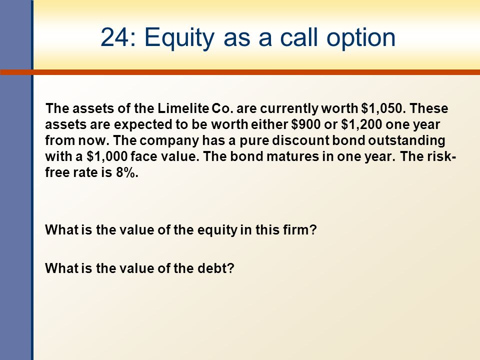 24: Equity as a call option The assets of the Limelite Co.