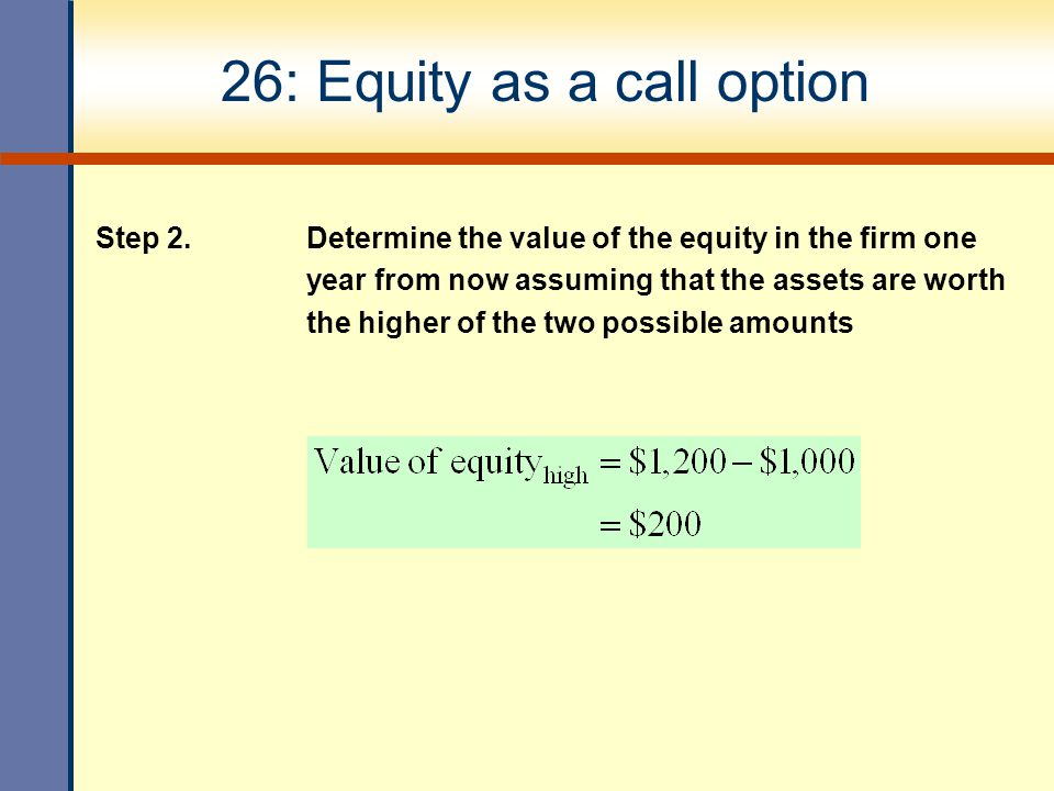 26: Equity as a call option Step 2.
