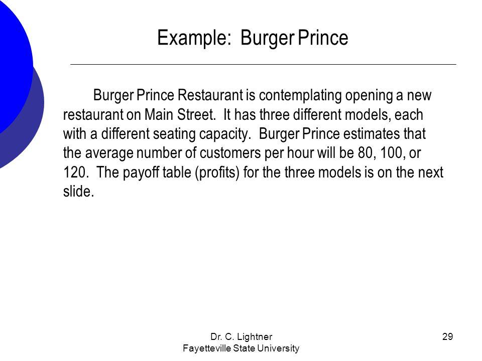 Dr. C. Lightner Fayetteville State University 29 Example: Burger Prince Burger Prince Restaurant is contemplating opening a new restaurant on Main Str