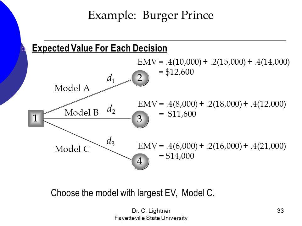 Dr. C. Lightner Fayetteville State University 33 Example: Burger Prince Expected Value For Each Decision Choose the model with largest EV, Model C. 3