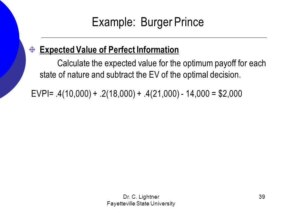 Dr. C. Lightner Fayetteville State University 39 Example: Burger Prince Expected Value of Perfect Information Calculate the expected value for the opt