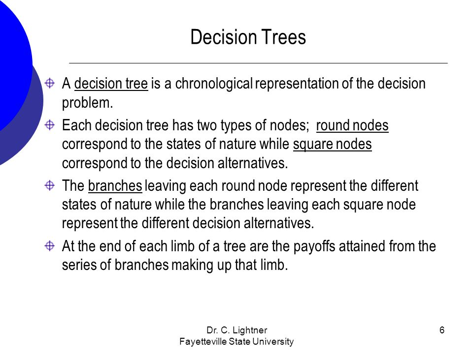 Dr. C. Lightner Fayetteville State University 6 Decision Trees A decision tree is a chronological representation of the decision problem. Each decisio