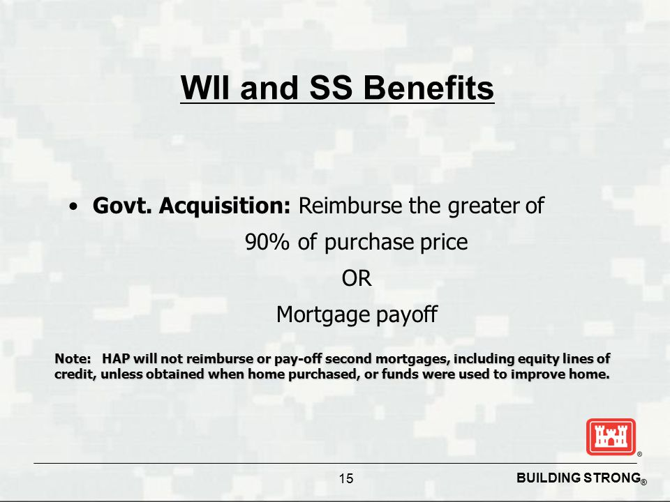 BUILDING STRONG ® 15 WII and SS Benefits Govt. Acquisition: Reimburse the greater of 90% of purchase price OR Mortgage payoff Note: HAP will not reimb