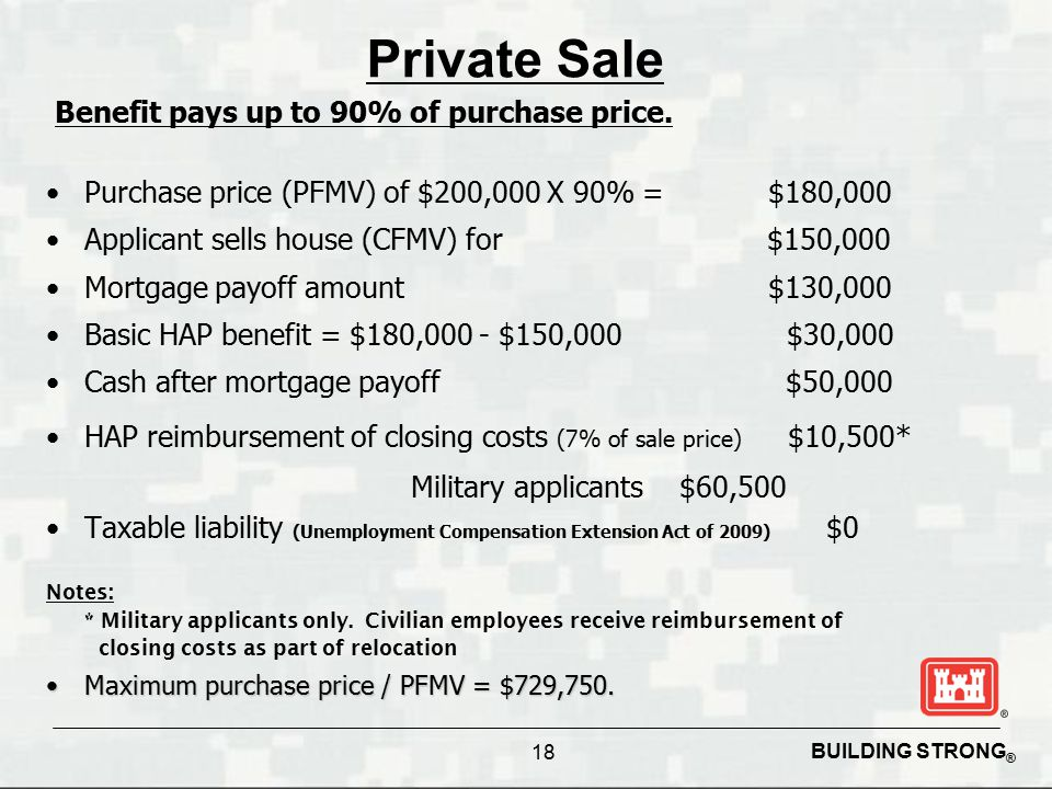 BUILDING STRONG ® 18 Private Sale Purchase price (PFMV) of $200,000 X 90% = $180,000 Applicant sells house (CFMV) for $150,000 Mortgage payoff amount