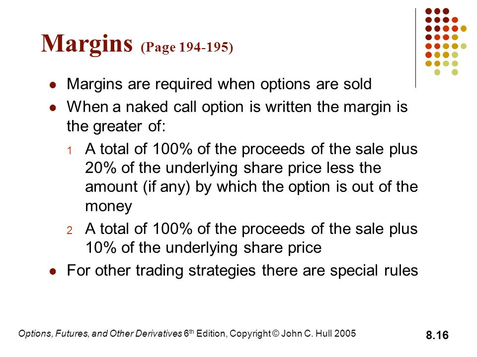 Options, Futures, and Other Derivatives 6 th Edition, Copyright © John C. Hull 2005 8.16 Margins (Page 194-195) Margins are required when options are