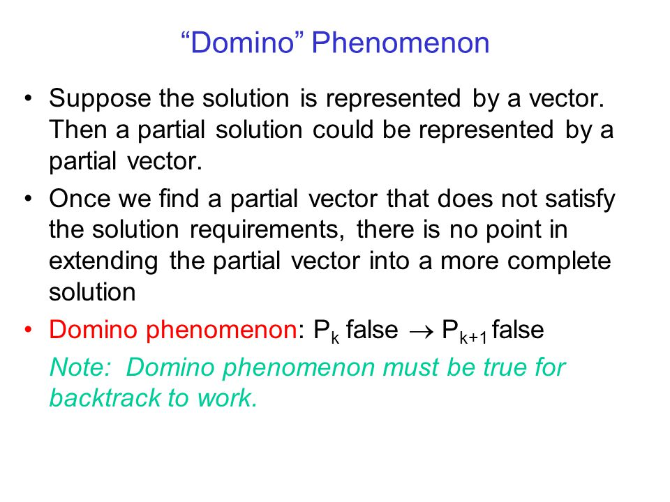 Domino Phenomenon Suppose the solution is represented by a vector.