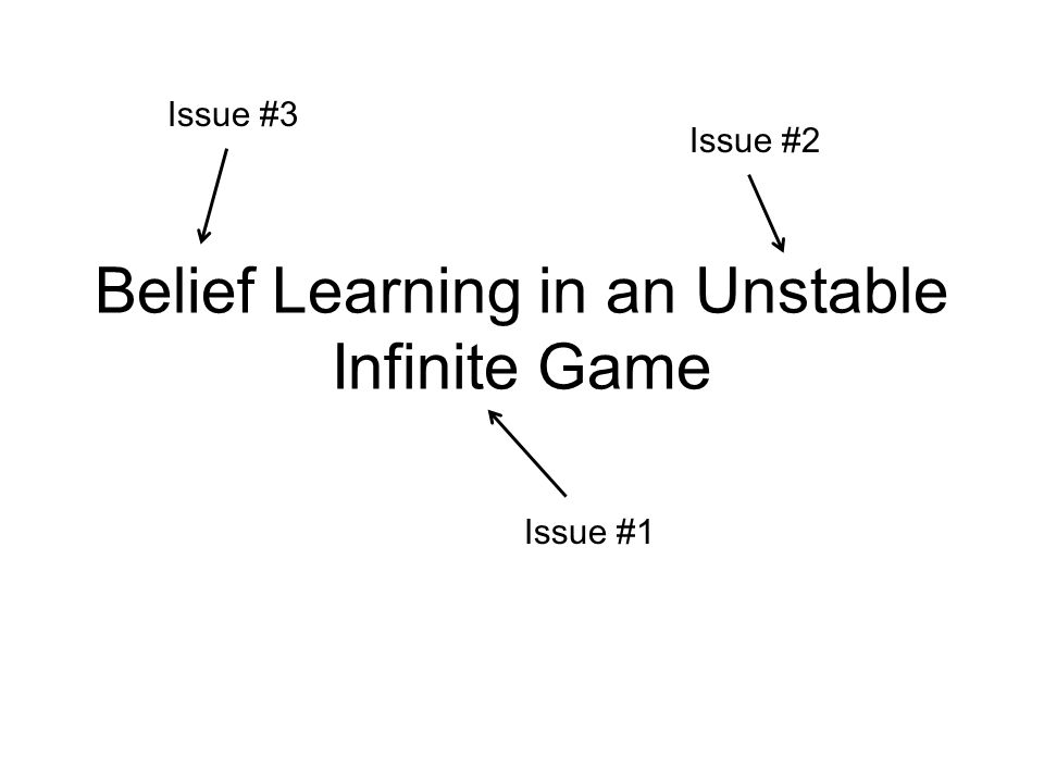 Issue #1: Infinite Games Typical Learning Model: –Finite set of strategies –Strategies get weight based on 'fitness' –Bells & Whistles: experimentation, spillovers… Many important games have infinite strategies –Duopoly, PG, bargaining, auctions, war of attrition… Quality of fit sensitive to grid size.