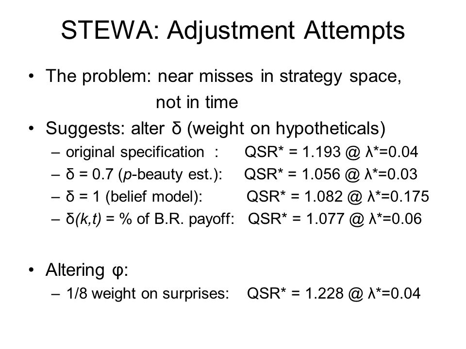 STEWA: Adjustment Attempts The problem: near misses in strategy space, not in time Suggests: alter δ (weight on hypotheticals) –original specification : QSR* = 1.193 @ λ*=0.04 –δ = 0.7 (p-beauty est.): QSR* = 1.056 @ λ*=0.03 –δ = 1 (belief model): QSR* = 1.082 @ λ*=0.175 –δ(k,t) = % of B.R.