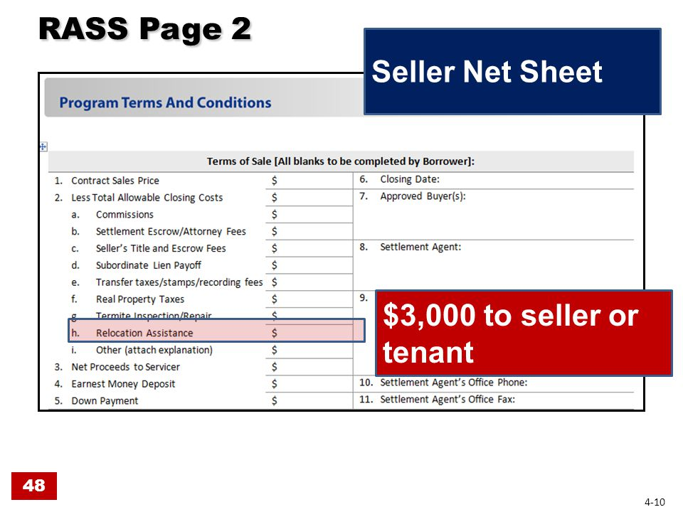 RASS Page 2 RASS Page 2 Seller Net Sheet 48 4-10 $3,000 to seller or tenant