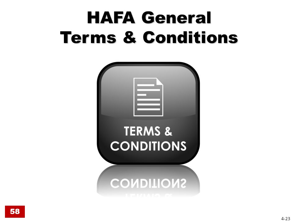 HAFA General Terms & Conditions 58 4-23