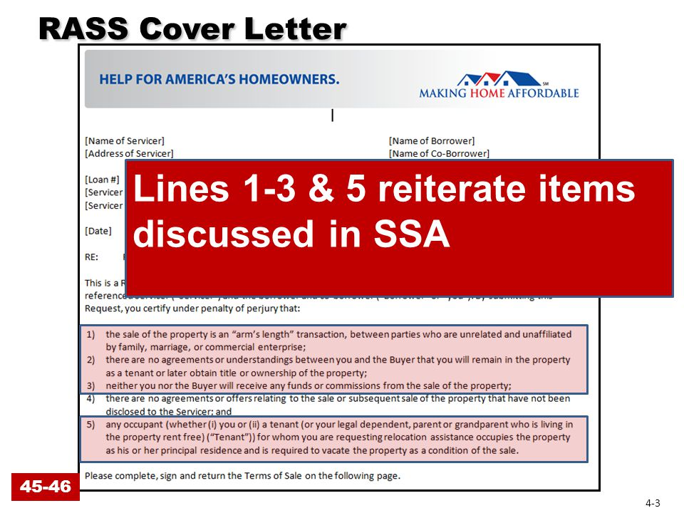 RASS Cover Letter RASS Cover Letter Line 4: No other agreements or offers not disclosed to servicer 4-4 46