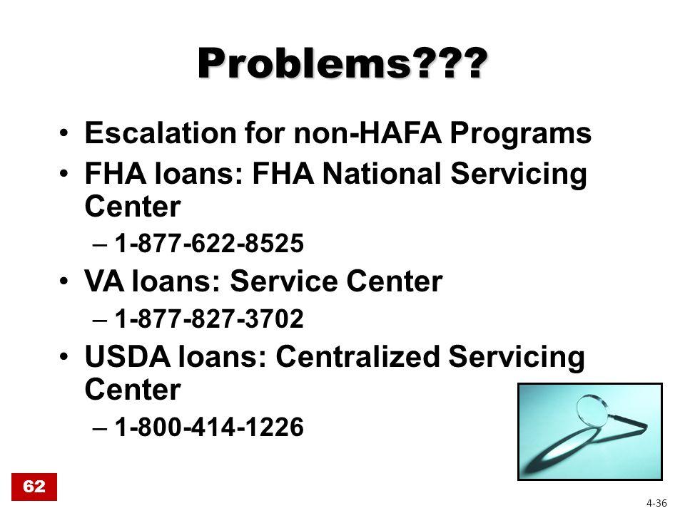 Problems??? Escalation for non-HAFA Programs FHA loans: FHA National Servicing Center –1-877-622-8525 VA loans: Service Center –1-877-827-3702 USDA lo