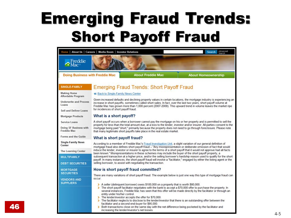 Short Payoff Fraud Any misrepresentation or deliberate omission of fact that would induce the lender, investor or insurer to agree to the terms of a short payoff that it would not approve had all facts been known. 46 4-6