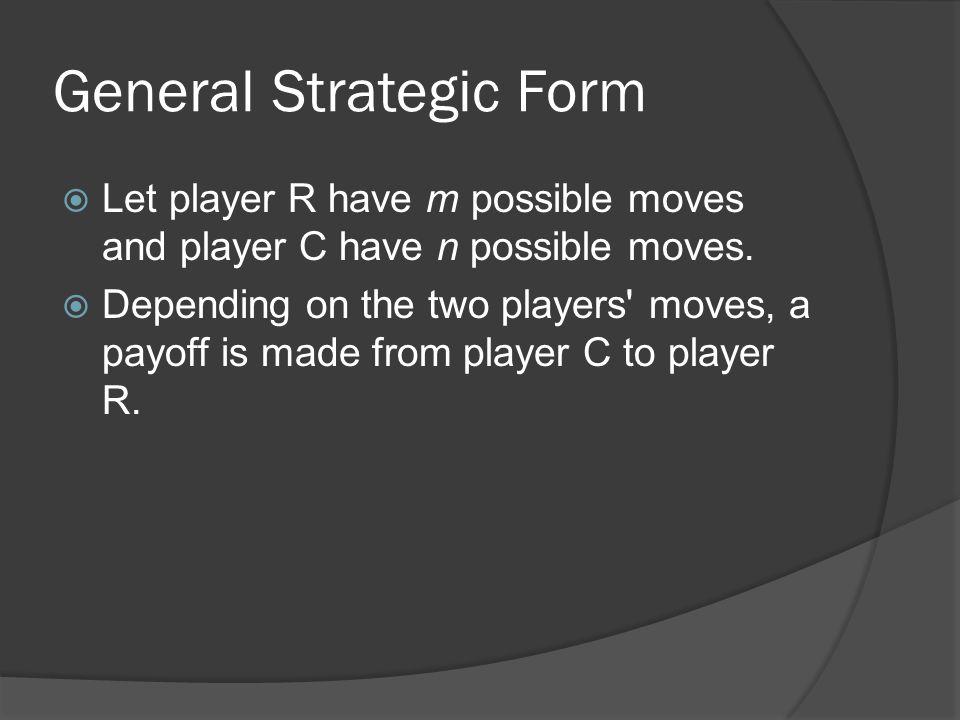 General Strategic Form  Let player R have m possible moves and player C have n possible moves.