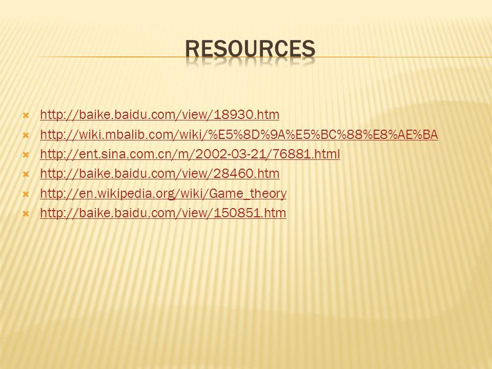  http://baike.baidu.com/view/18930.htm http://baike.baidu.com/view/18930.htm  http://wiki.mbalib.com/wiki/%E5%8D%9A%E5%BC%88%E8%AE%BA http://wiki.mbalib.com/wiki/%E5%8D%9A%E5%BC%88%E8%AE%BA  http://ent.sina.com.cn/m/2002-03-21/76881.html http://ent.sina.com.cn/m/2002-03-21/76881.html  http://baike.baidu.com/view/28460.htm http://baike.baidu.com/view/28460.htm  http://en.wikipedia.org/wiki/Game_theory http://en.wikipedia.org/wiki/Game_theory  http://baike.baidu.com/view/150851.htm http://baike.baidu.com/view/150851.htm