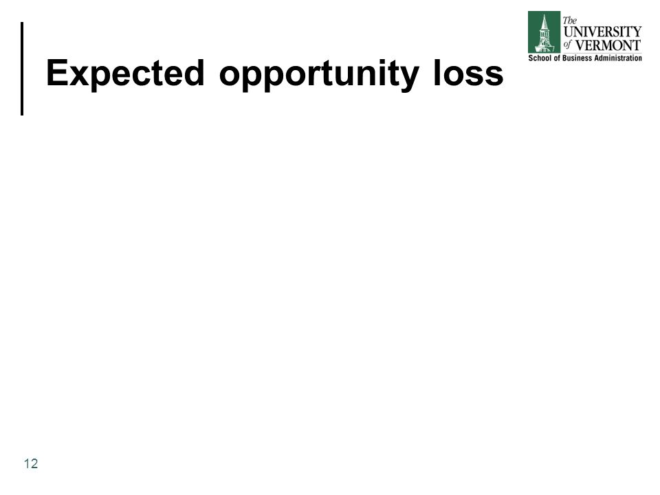 Expected opportunity loss 12