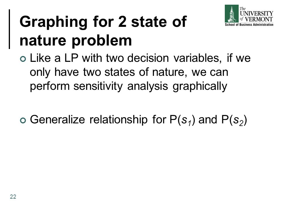 Graphing for 2 state of nature problem Like a LP with two decision variables, if we only have two states of nature, we can perform sensitivity analysis graphically Generalize relationship for P(s 1 ) and P(s 2 ) 22