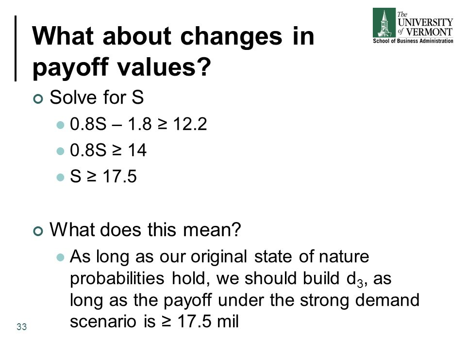 What about changes in payoff values.
