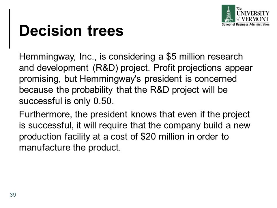Decision trees 39 Hemmingway, Inc., is considering a $5 million research and development (R&D) project.