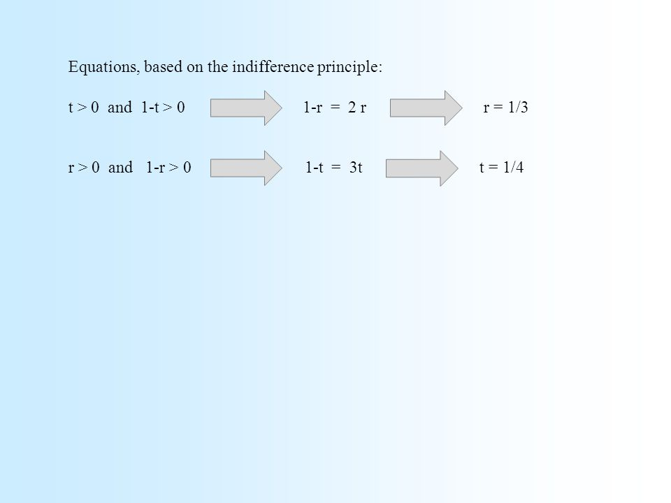 Equations, based on the indifference principle: t > 0 and 1-t > 0 1-r = 2 r r = 1/3 r > 0 and 1-r > 0 1-t = 3t t = 1/4