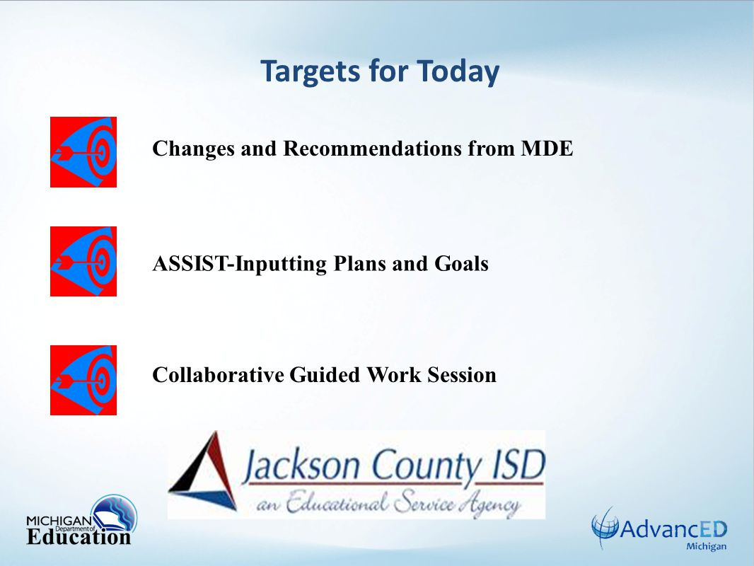 Targets for Today ASSIST-Inputting Plans and Goals Changes and Recommendations from MDE Collaborative Guided Work Session